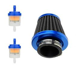 "HIAORS 38mm 1 1/2"" Blue Air Filter With Two 5mm Gas Fuel Fil"