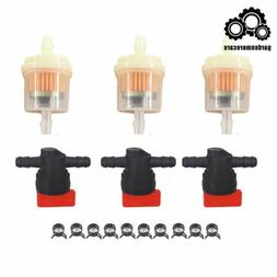 """In Line Fuel Gas Filter Shut Cut Off Valve Clamp 3Kit 1/4"""""""