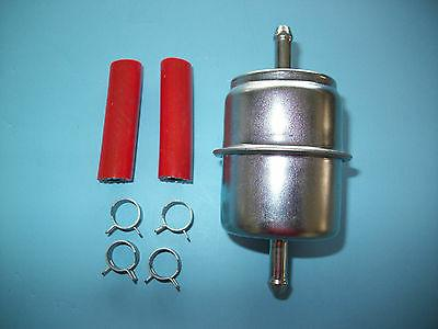 "Inline Fuel Filter 1/4"" metal w/ hose-clamps for 33031 GF1 F"